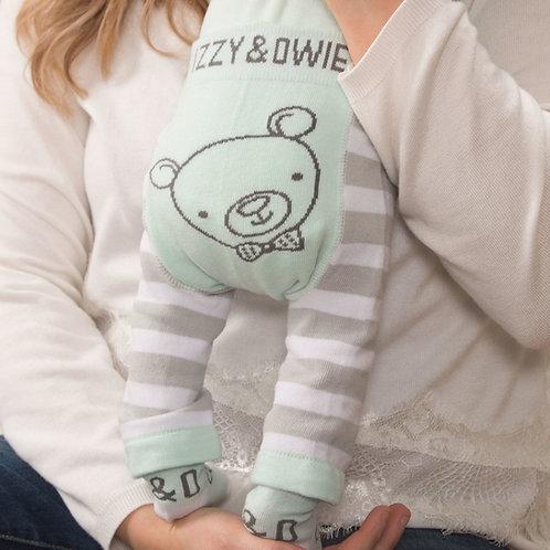 Green Striped Bear Baby Leggings