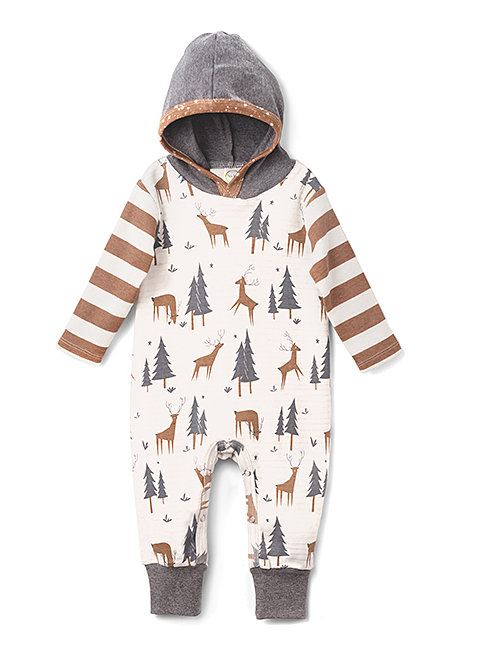 Deer Forest & Pecan Stripe Playsuit, Boys