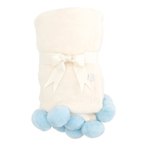 Blue Pom Trim Fleece Stroller Blanket