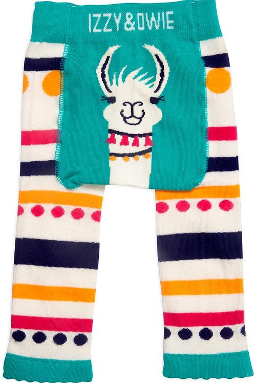 Teal Llama/Alpaca Baby Girl Soft & Stretchy Leggings