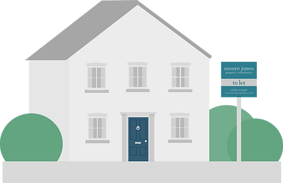 Vector design of a grey house with grey roof, dark blue door with a 'To Let' sign in front of the property