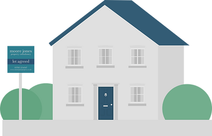 Vector design of a grey house with dark blue roof, dark blue door with a 'To Let' sign in front of the property