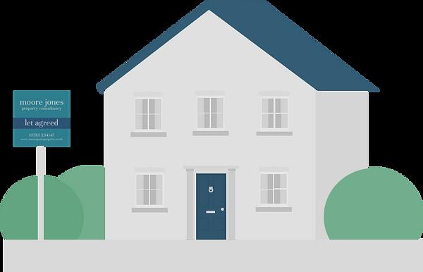 3D MJPC House let agreed dark blue door.