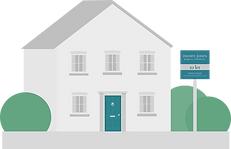 Vector design of a grey house with dark grey roof, blue door with a 'To Let' sign in front of the property