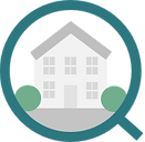 Property Search Logo - Vector of light grey house with grey roof with dark grey windows, surrounded by blue circle
