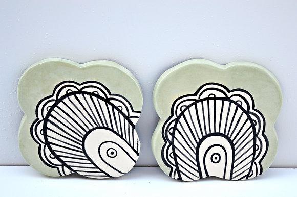 Mint Paisley Coasters
