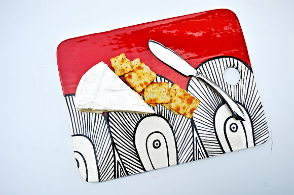 Red Paisley Cheese Board