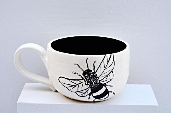 Black + White Bee Mug