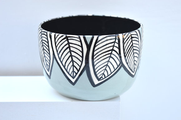 Aqua Leaf Cereal Bowl