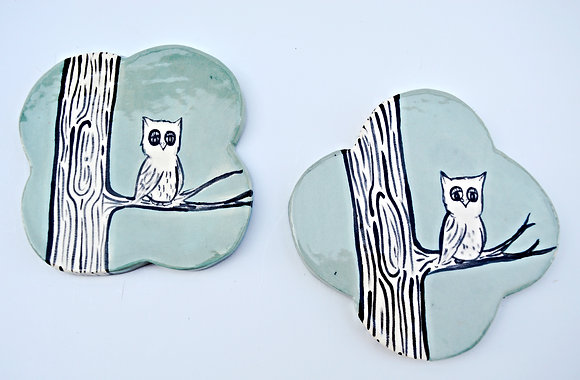 Owl + Branch Coasters