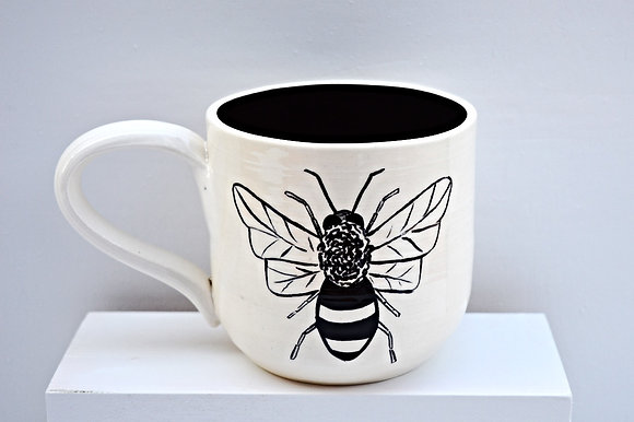 Black + White Bee Mug