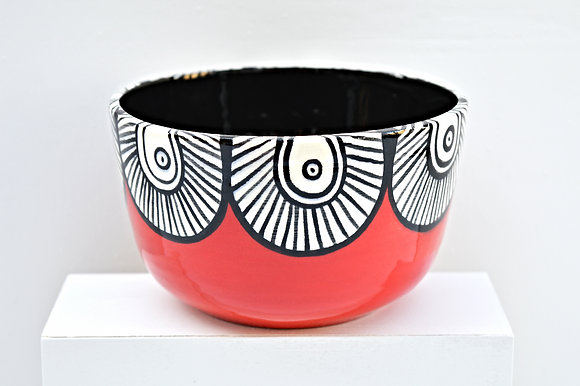 Red Paisley Cereal Bowl