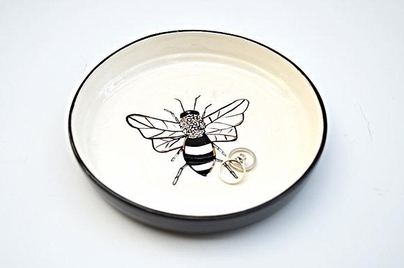 Black + White Bee Ring Dish