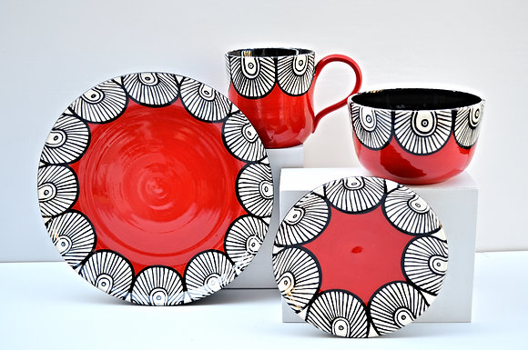 Red Paisley Full Place Setting