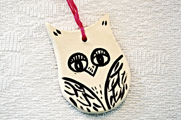 White + Black Owl Ornament