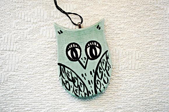 Aqua Owl Ornament