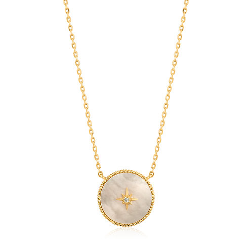 SS/GP Mother of Pearl Emblem Necklace