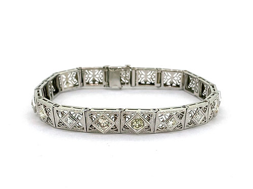 Estate 14KW Diamond Filigree Bracelet