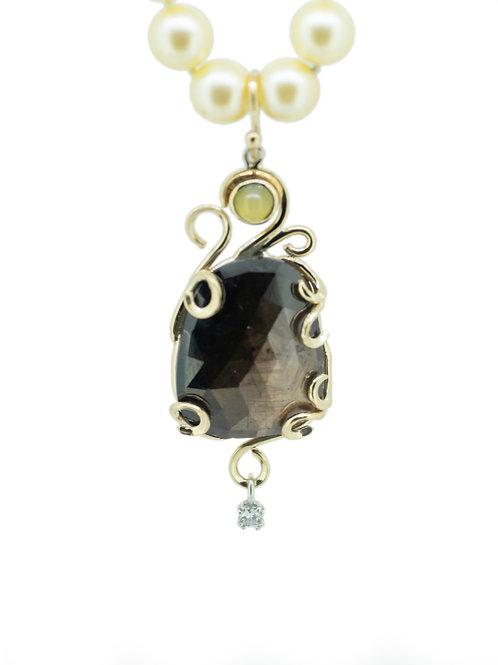 14K Black Sun Sapphire Enhancer on Cream Pearls