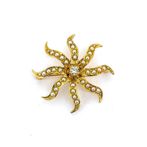 Estate 14KY Star Brooch