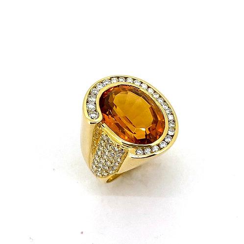 Estate 14KY Citrine Ring with Diamonds