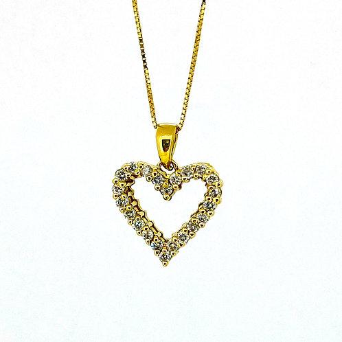 Estate 14KY Diamond Heart Pendant