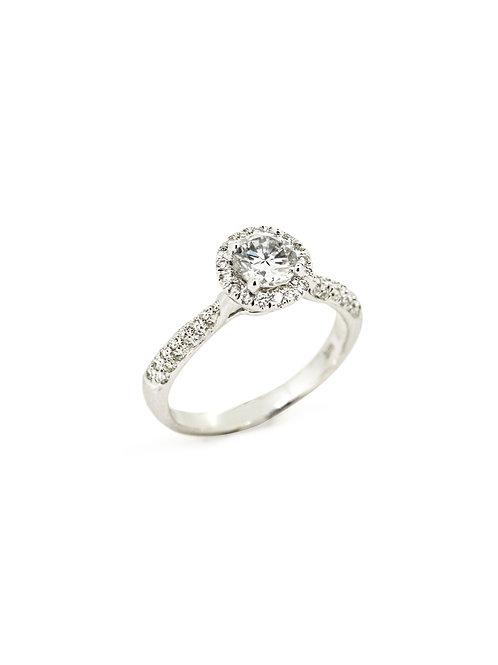 14KW Round Halo Diamond Ring