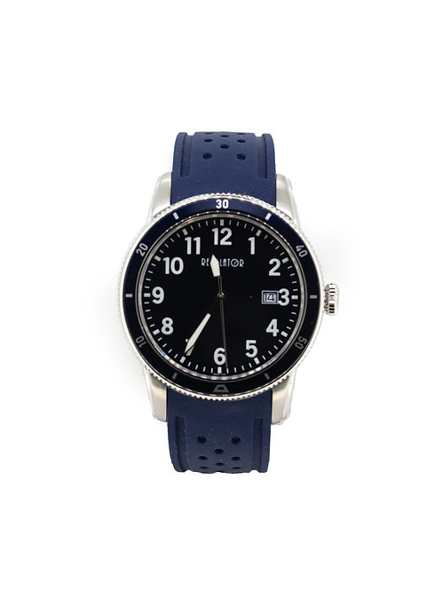 Stainless Steel Sport Watch with Blue Dial and Blue Silicone Strap.