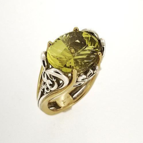 SS/14KY Green-Gold Quartz Scroll Ring