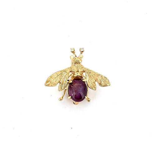 Estate 14KY Star Ruby Bee Pin