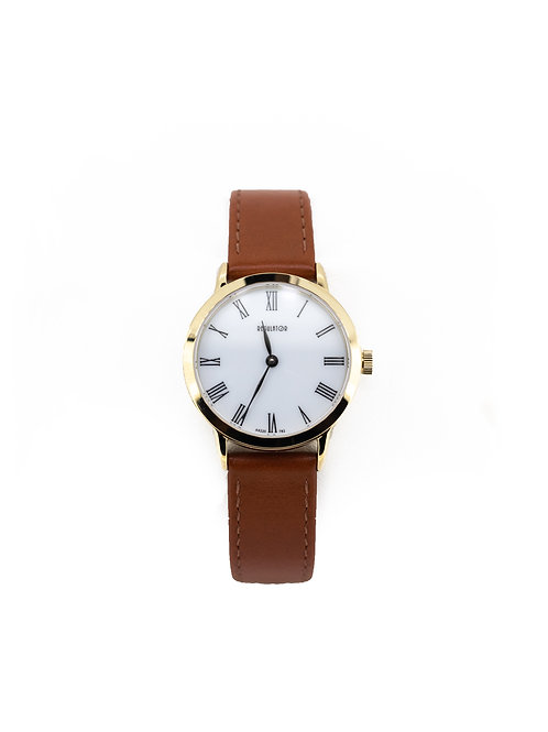 Stainless Steel/Gold Plate Watch with White Dial and Tan Leather Strap.