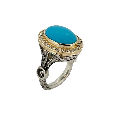 SS/18KY Turquoise Dream Catcher Ring