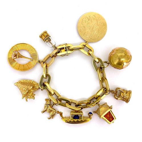 Estate 14KY Charm Bracelet