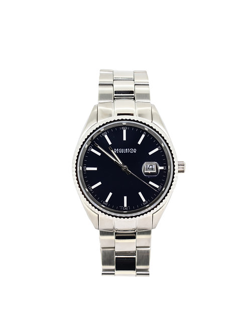 Stainless Steel Dress Watch with Black Dial.