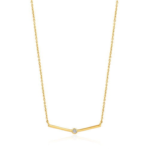 SS/GP Single CZ Bar Necklace