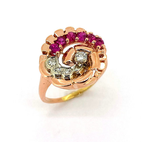 Estate 14KR Lab Created Ruby and Diamond Ring