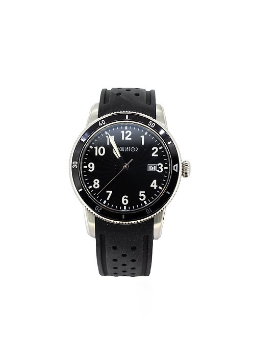 Stainless Steel Bracelet Watch with Black Dial and Bezel.