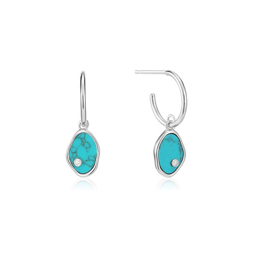 SS Turquoise Mini Hoops