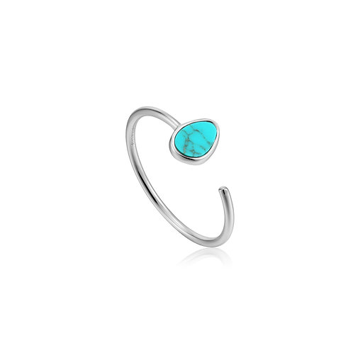SS Turquoise Adjustable Ring