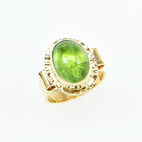 14KY Afghan Green Tourmaline Cabochon Ring