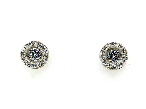 SS Round Halo Stud Earrings