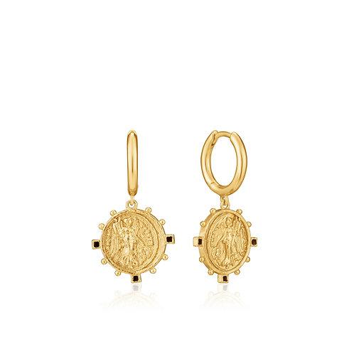 SS/GP Mini Hoop Coin Earrings