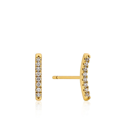 SS/GP Pave CZ Bar Stud Earring