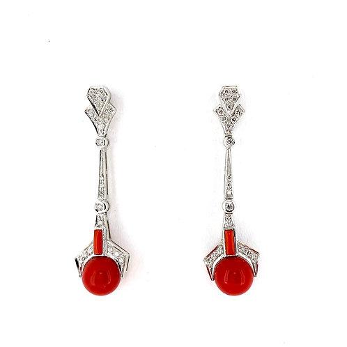 Estate 14KW Coral Earrings
