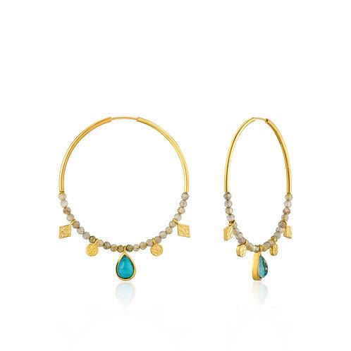 SS/GP Turquoise & Labradorite Hoops