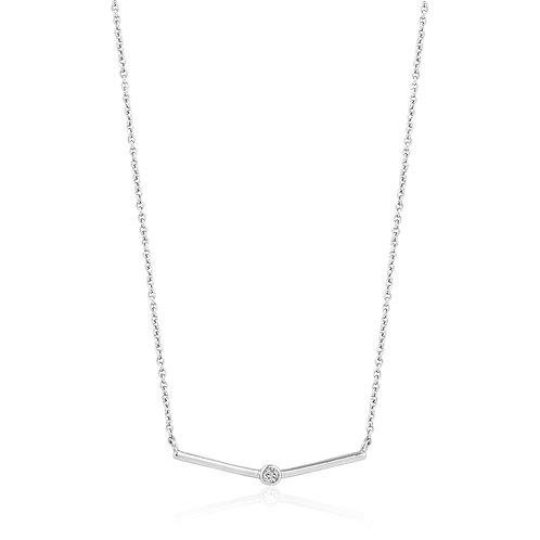 SS Single CZ Bar Necklace