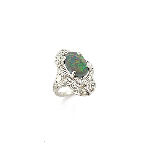Estate Platinum Black Opal Dinner Ring