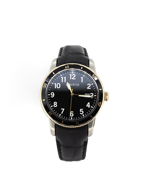Stainless Steel/Gold Plate Watch with Black Dial and Black Leather Strap.