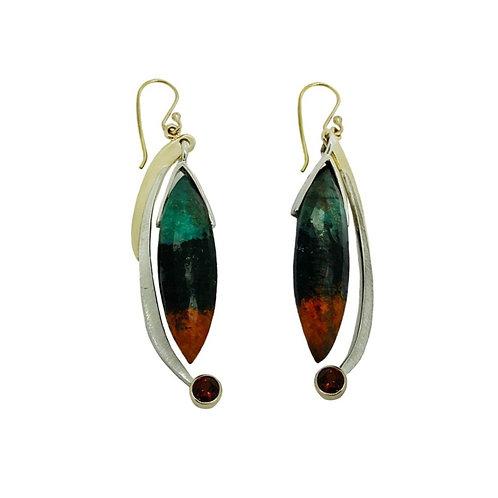 SS/14KY Chrysocolla in Cuprite & Garnet Earrings