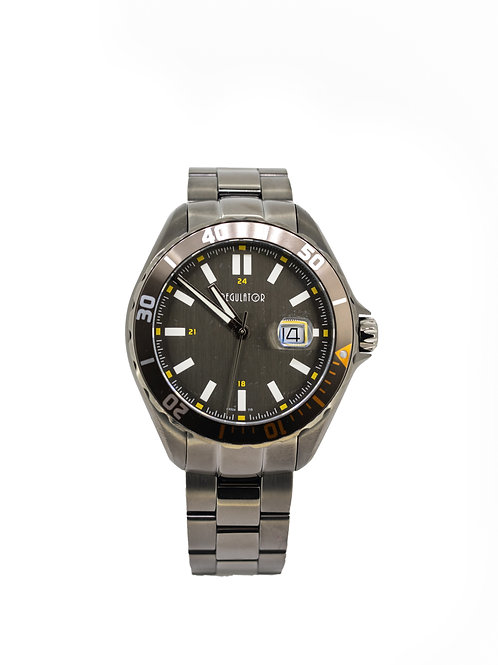 Stainless Steel Grey Plated Watch with Diver Bezel and Date.